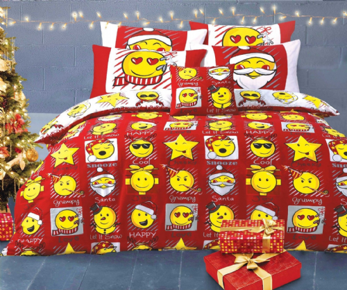 Emoji Smiley Emoticon Reversible Themed Design Xmas Bedding Duvet Cover Set Red White
